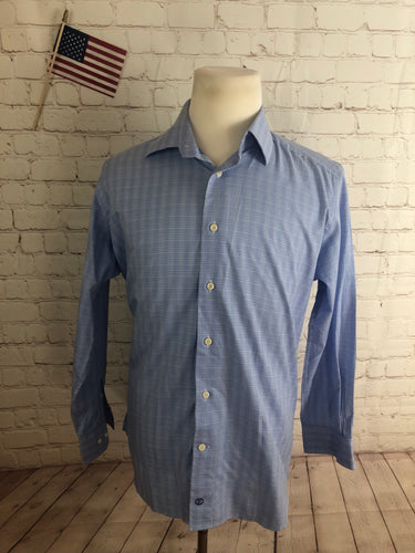 David Donahue Men's Blue Plaid Cotton Dress Shirt 17 32/33 - SUIT CHARITY OUTLET