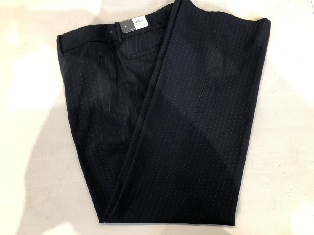 Ann Taylor LOFT Men's Navy Blue Stripe Flat Front Dress Pants 14 - SUIT CHARITY OUTLET