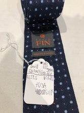 NEW NWOT David Fin Men's Blue Geometric Pattern Silk Neck Tie $125 - SUIT CHARITY OUTLET