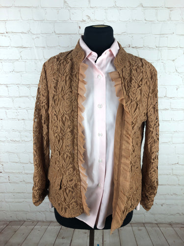 Chico's Women's Brown Floral Blazer Size 1 $195 - SUIT CHARITY OUTLET