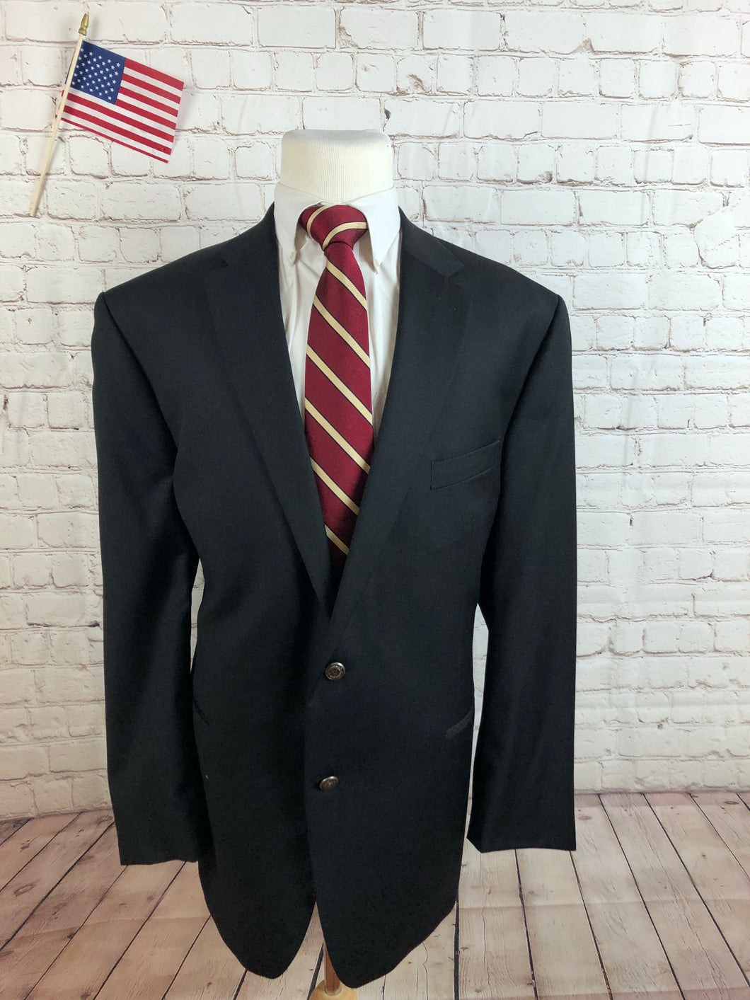 Chaps Men's Black WOOL Blazer Sport Coat Suit Jacket Size 48L $395 - SUIT CHARITY OUTLET