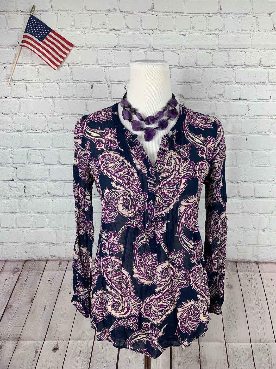 Lucky Brand Women's Blue Purple Blouse Small - SUIT CHARITY OUTLET
