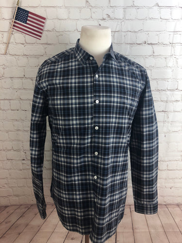 Theory Men's Blue Gray Plaid Cotton Dress Shirt XL