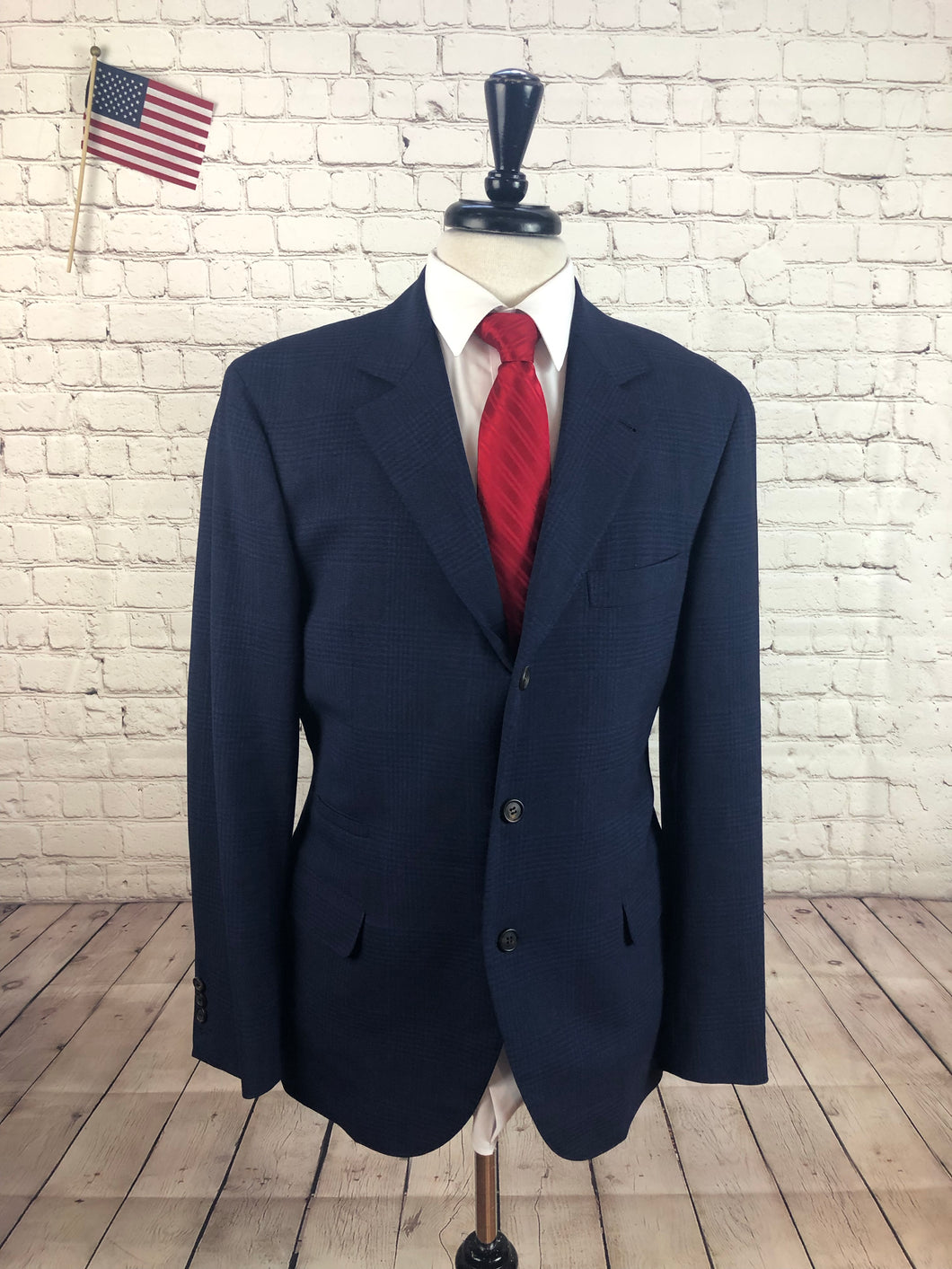 Bruno Cucinelli Men's Navy Plaid Wool Suit 42R 34x32 - SUIT CHARITY OUTLET