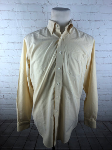 L.L. Bean Yellow Solid Cotton Dress Shirt 15.5 34/35 $78 - SUIT CHARITY OUTLET