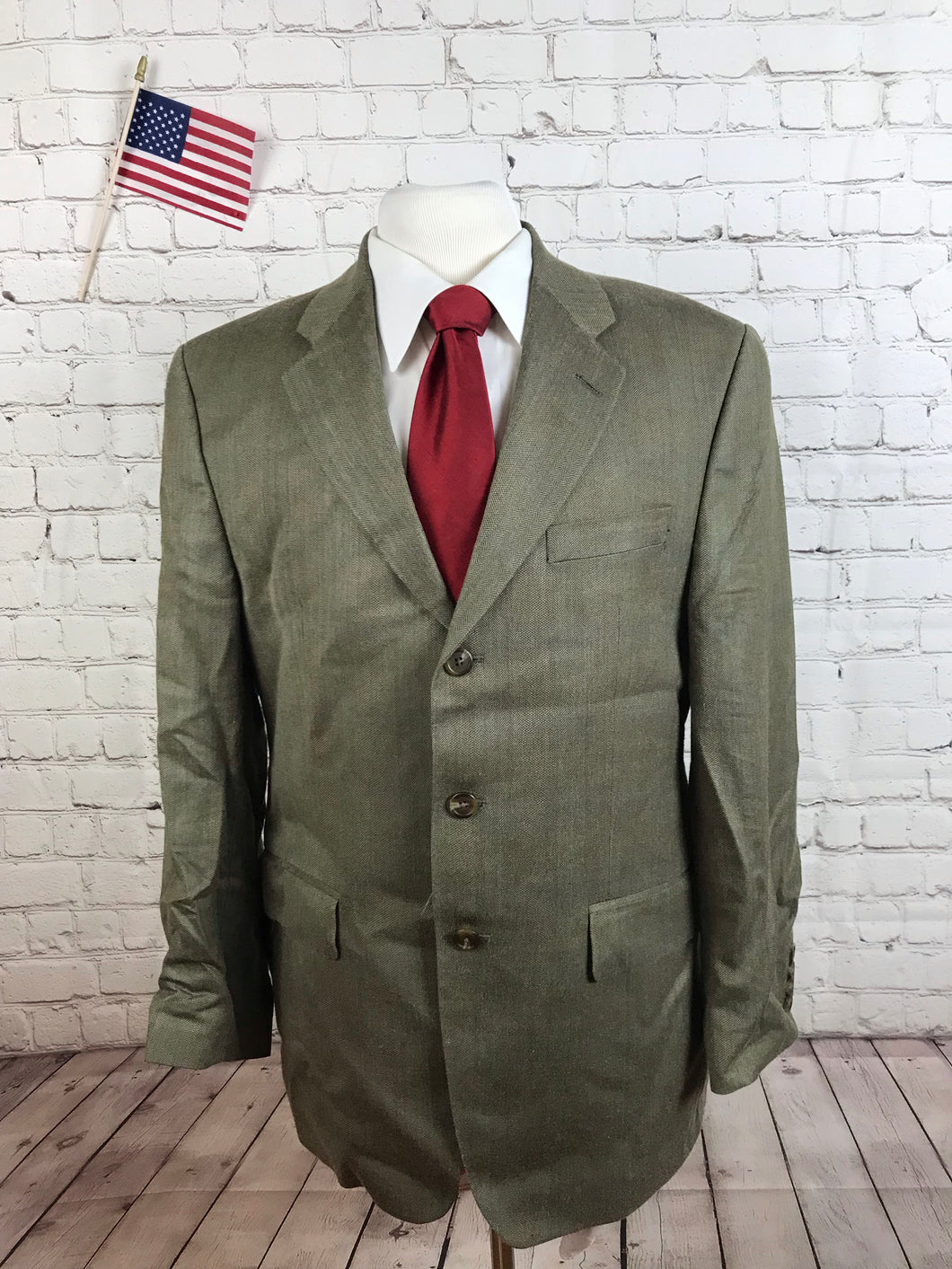 Chaps Ralph Lauren Men's Beige Check Silk Blend Blazer Sport Coat Suit Jacket 40R $395