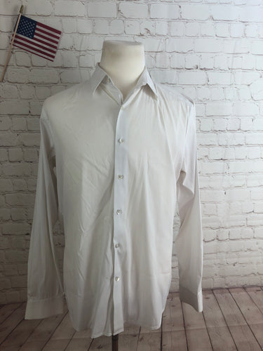 Theory Men's Solid White Cotton Dress Shirt XL