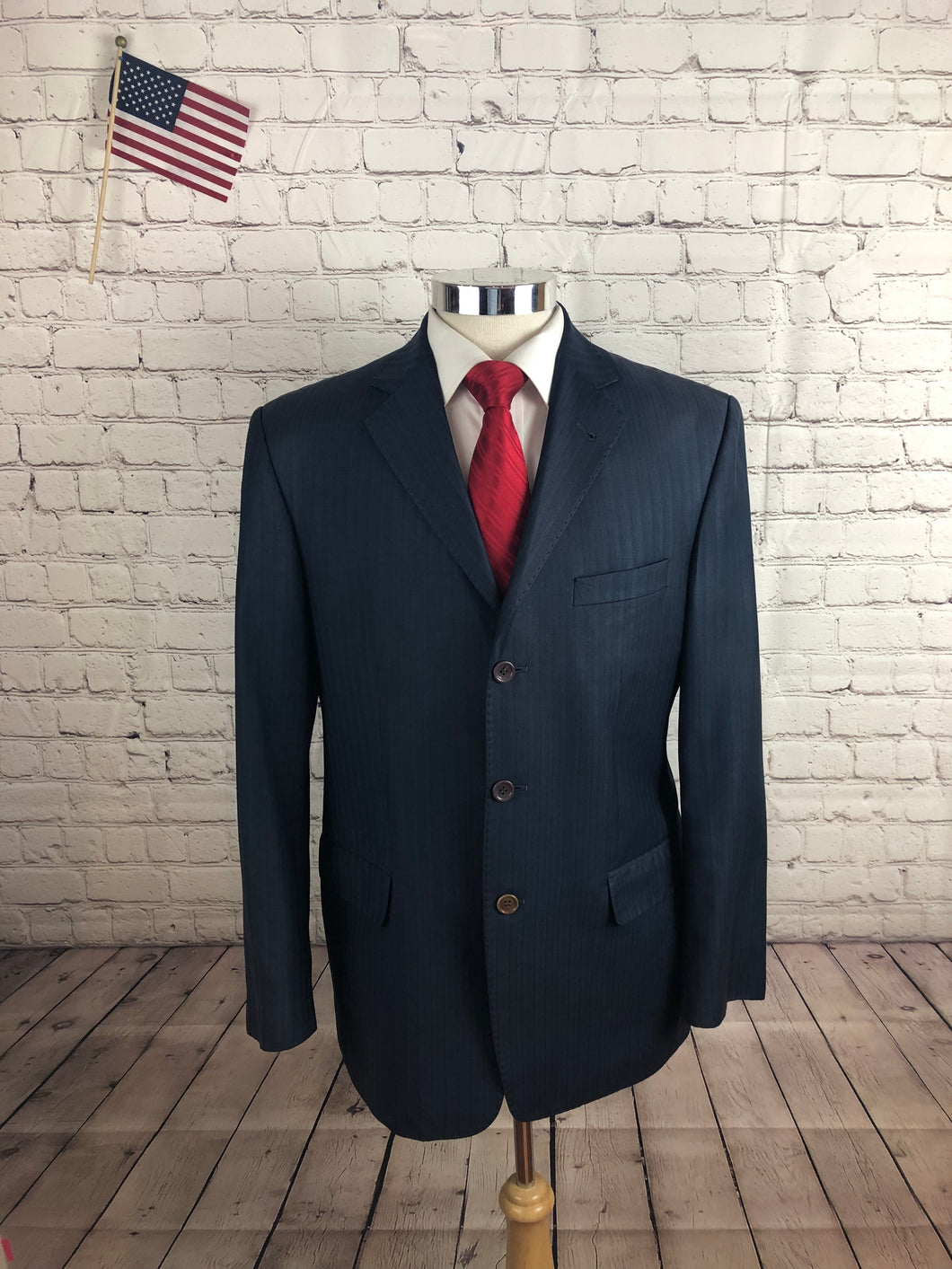 Frank Dalvin Men's Navy Stripe Blazer Sport Coat Suit Jacket Size 40R $495 - SUIT CHARITY OUTLET