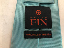 NEW NWOT David Fin Men's Teal Stripe Silk Neck Tie - SUIT CHARITY OUTLET