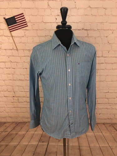 Tommy Hilfiger Men's Light Blue Stripe Standard Cuff Cotton Dress Shirt S/P - SUIT CHARITY OUTLET