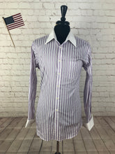 Paul Fredrick Men's Purple Stripe French Cuff Cotton Dress Shirt 16.6 36 - SUIT CHARITY OUTLET