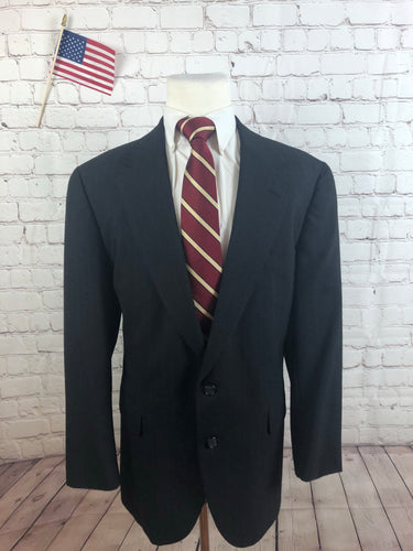 Eagle Men's Gray Stripe Suit Size 46L Waist 36 Inseam 29 $295 - SUIT CHARITY OUTLET