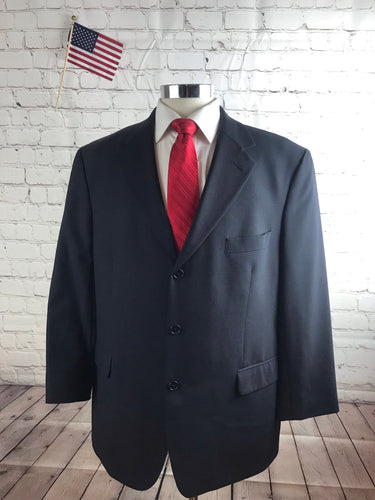 Brooks Brothers Men's Navy Solid WOOL BLEND Suit 44R Waist 36 Inseam 28 $895 - SUIT CHARITY OUTLET