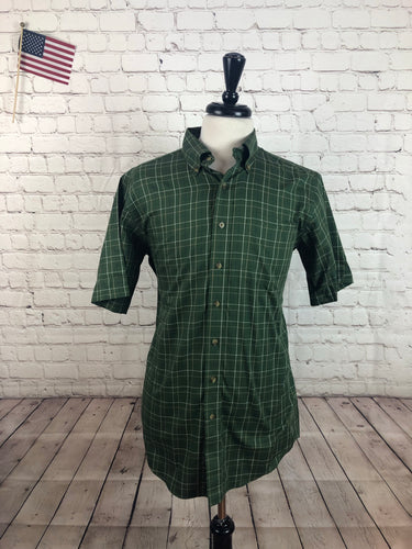 L. L. Bean Men's Green Plaid Cotton Button Down Short Sleeve Dress Shirt MEDIUM TALL - SUIT CHARITY OUTLET