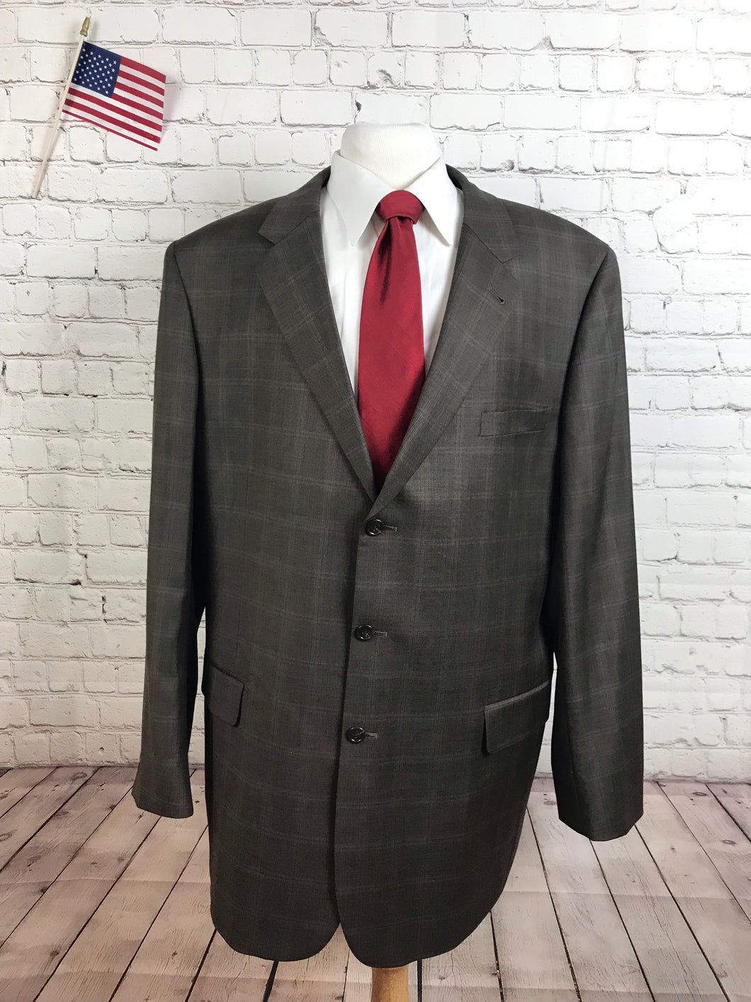 Jos. A. Bank Men's Brown Plaid Wool Suit 48R Pants 40X32 $795 - SUIT CHARITY OUTLET