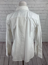Talbots Women's White Stripe Button Down Shirt 14P - SUIT CHARITY OUTLET
