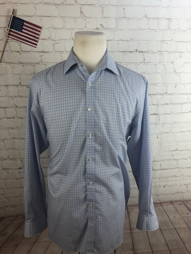 Michael Kors Men's Blue Plaid Cotton Dress Shirt 17 34/35