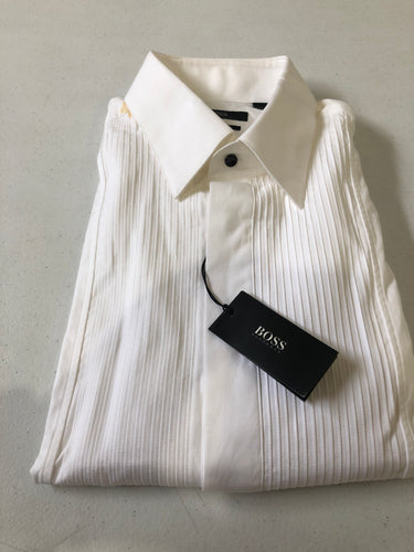 Hugo Boss White Solid Tuxedo Dress Shirt New with defects $195 - SUIT CHARITY OUTLET