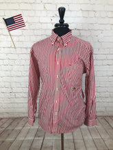 Tommy Hilfiger Men's Red Stripe Standard Cuff Cotton Dress Shirt Medium - SUIT CHARITY OUTLET