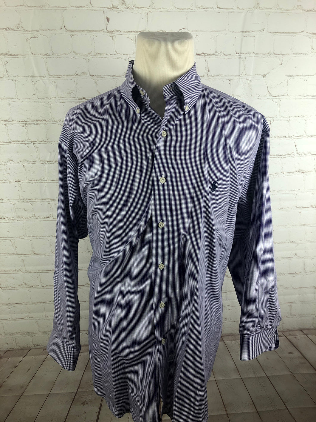 Ralph Lauren Purple Plaid Cotton Dress Shirt Size 17 32/33 $98 - SUIT CHARITY OUTLET