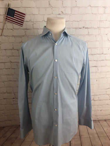 Theory Men's Light Blue Cotton Dress Shirt 16.5 32/33