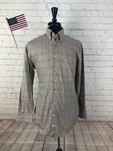 Peter Millar Men's Brown Plaid Cotton Dress Shirt Medium - SUIT CHARITY OUTLET