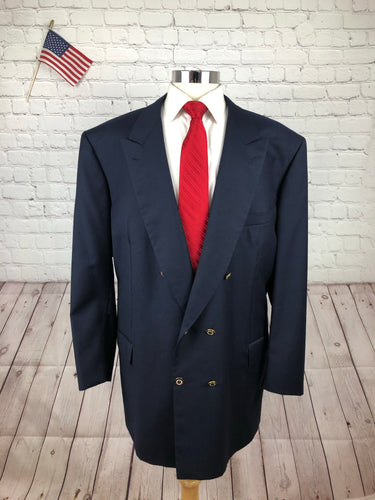 Brioni Men's Navy Wool Double Breasted Blazer Sport Coat Suit Jacket 52L - SUIT CHARITY OUTLET