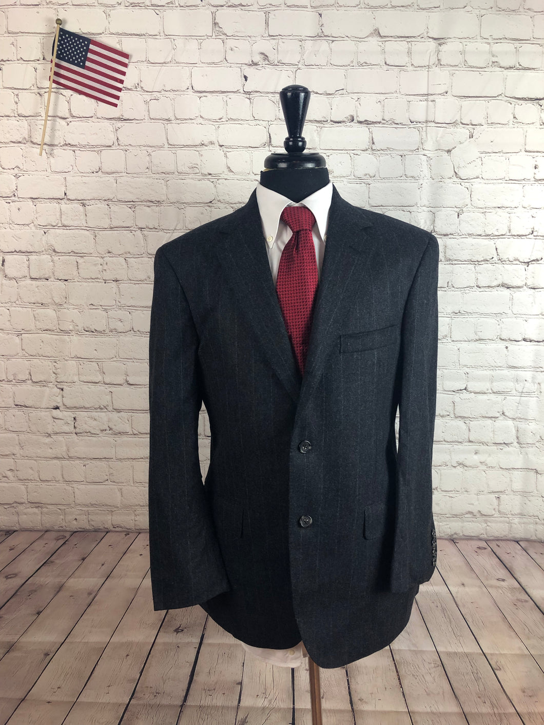 Southwick Men's Gray Stripe Wool Blazer Sport Coat Suit Jacket 40R $395 - SUIT CHARITY OUTLET