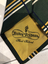 Hickey Freeman Men's Green Stripe Check Silk Neck Tie - SUIT CHARITY OUTLET