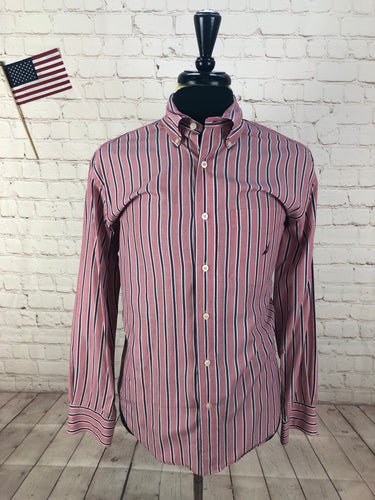 Nautica Men's Red Striped Cotton Dress Shirt Medium - SUIT CHARITY OUTLET