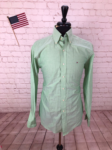 Tommy Hilfiger Men's Green Standard Cuff Cotton Dress Shirt 15.5 - 34/35 - SUIT CHARITY OUTLET