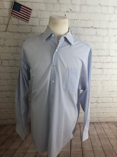 Calvin Klein Men's White Blue Plaid Cotton Dress Shirt 17.5 34/35 - SUIT CHARITY OUTLET