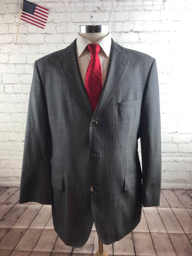 Hugo Boss Men's Gray Stripe WOOL Suit 42R Waist 36 Inseam 30 $1,298 - SUIT CHARITY OUTLET