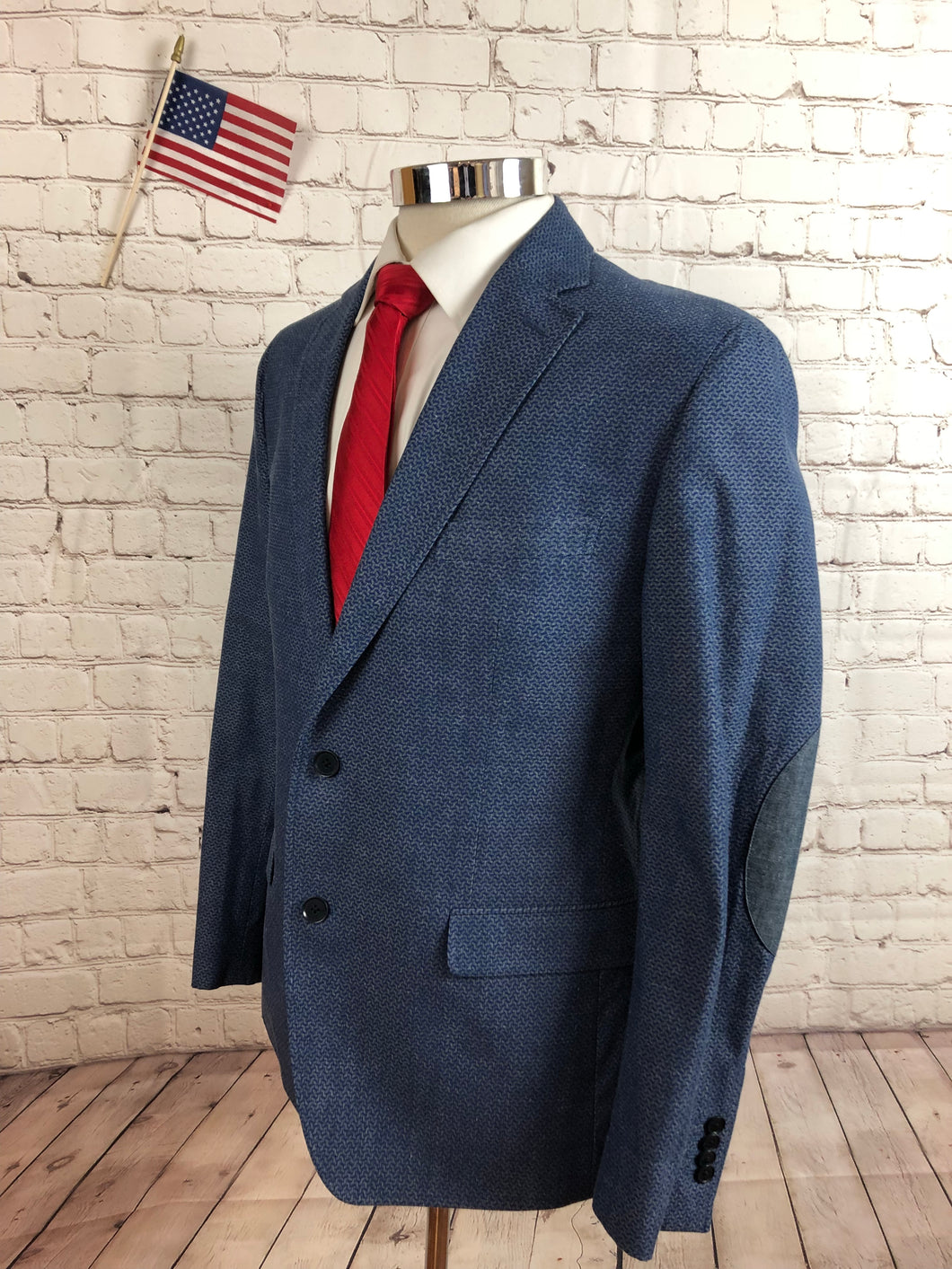 Banana Republic Men's Blue Geometric COTTON Blazer Sport Coat Suit Jacket 40S $395 - SUIT CHARITY OUTLET