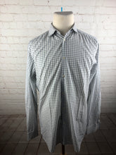 Theory White Plaid Dress Shirt 16 34/35 $98 - SUIT CHARITY OUTLET