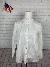 Talbots Women's White Stripe Button Down Shirt 14P