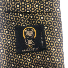 Valentino Men's Gold Black Geometric Pattern Silk Neck Tie - SUIT CHARITY OUTLET
