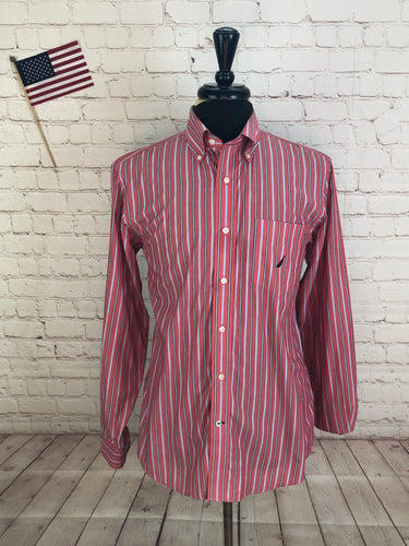 Nautica Men's Red Stripe Standard Cuff Cotton Dress Shirt MEDIUM - SUIT CHARITY OUTLET