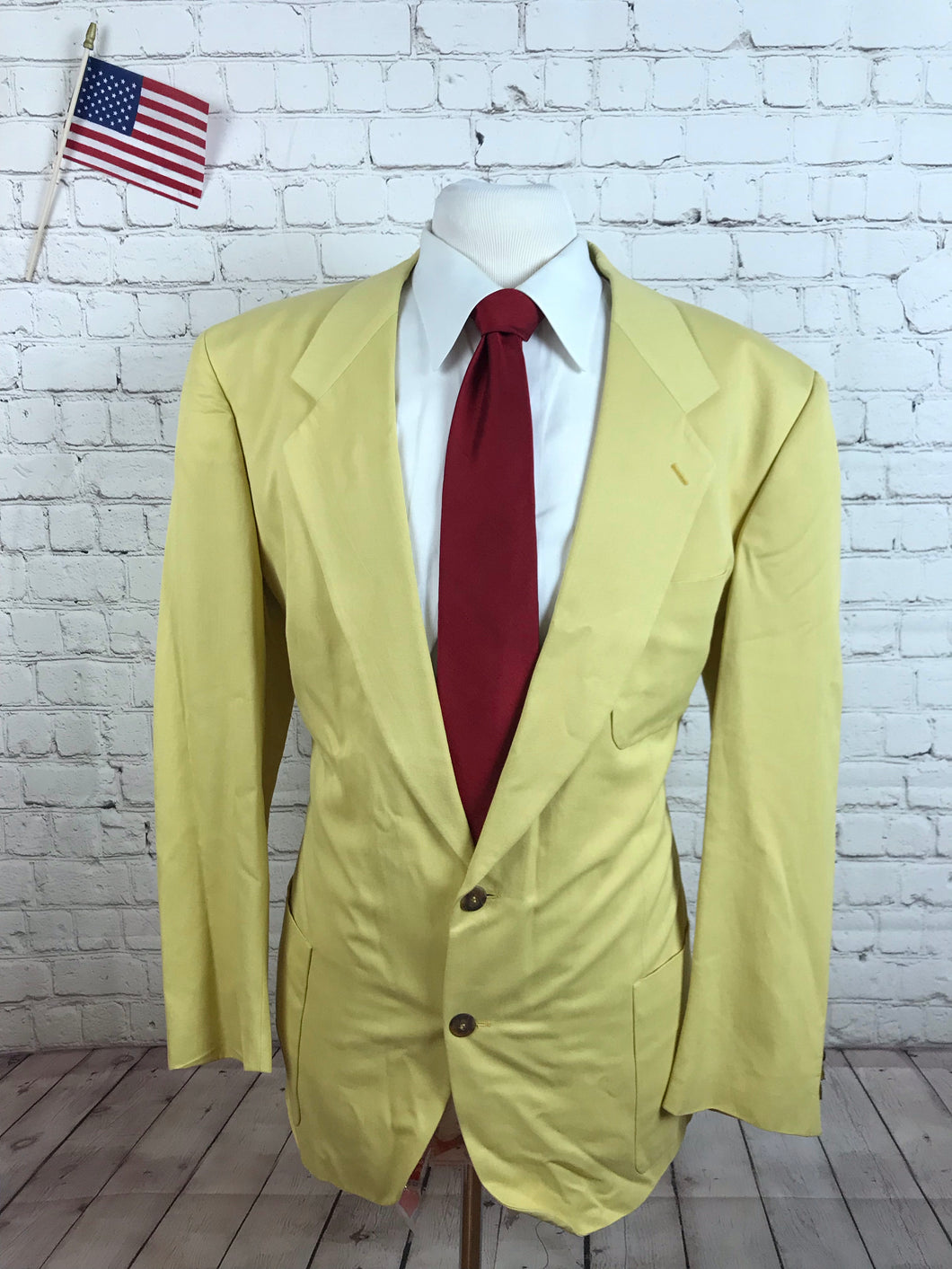 Custom Made Men's Yellow Blazer 46R $295 - SUIT CHARITY OUTLET