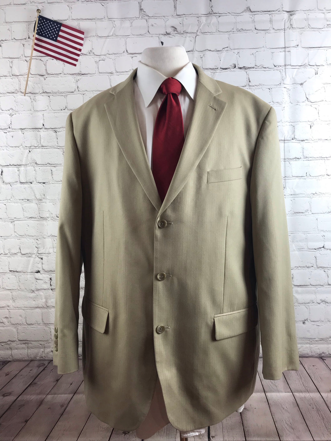 Stafford Men's Beige Stripe Blazer 46R $315