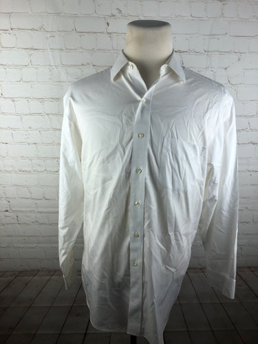 Brooks Brothers White Solid 100% Cotton Men's Dress Shirt $125 - SUIT CHARITY OUTLET