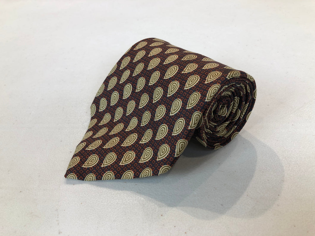 Joseph Abboud Men's Brown Paisley Silk Neck Tie $149 - SUIT CHARITY OUTLET