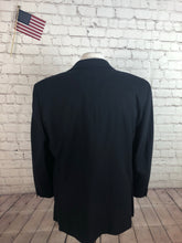DKNY Donna Karan Men's Black Stripe WOOL Suit 44S 36X29 - SUIT CHARITY OUTLET