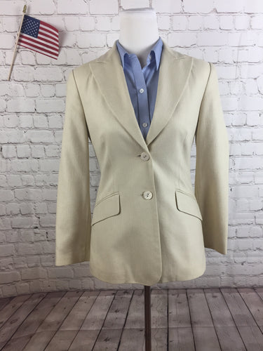 Talbots Women's Beige Striped Silk Blend Blazer Size 4 $215