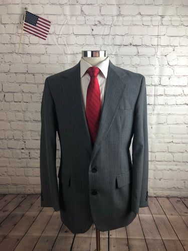 Imperial by Haggar Men's Gray Stripe 2 Button 1 Vent Suit Size 42R 34x31 $235