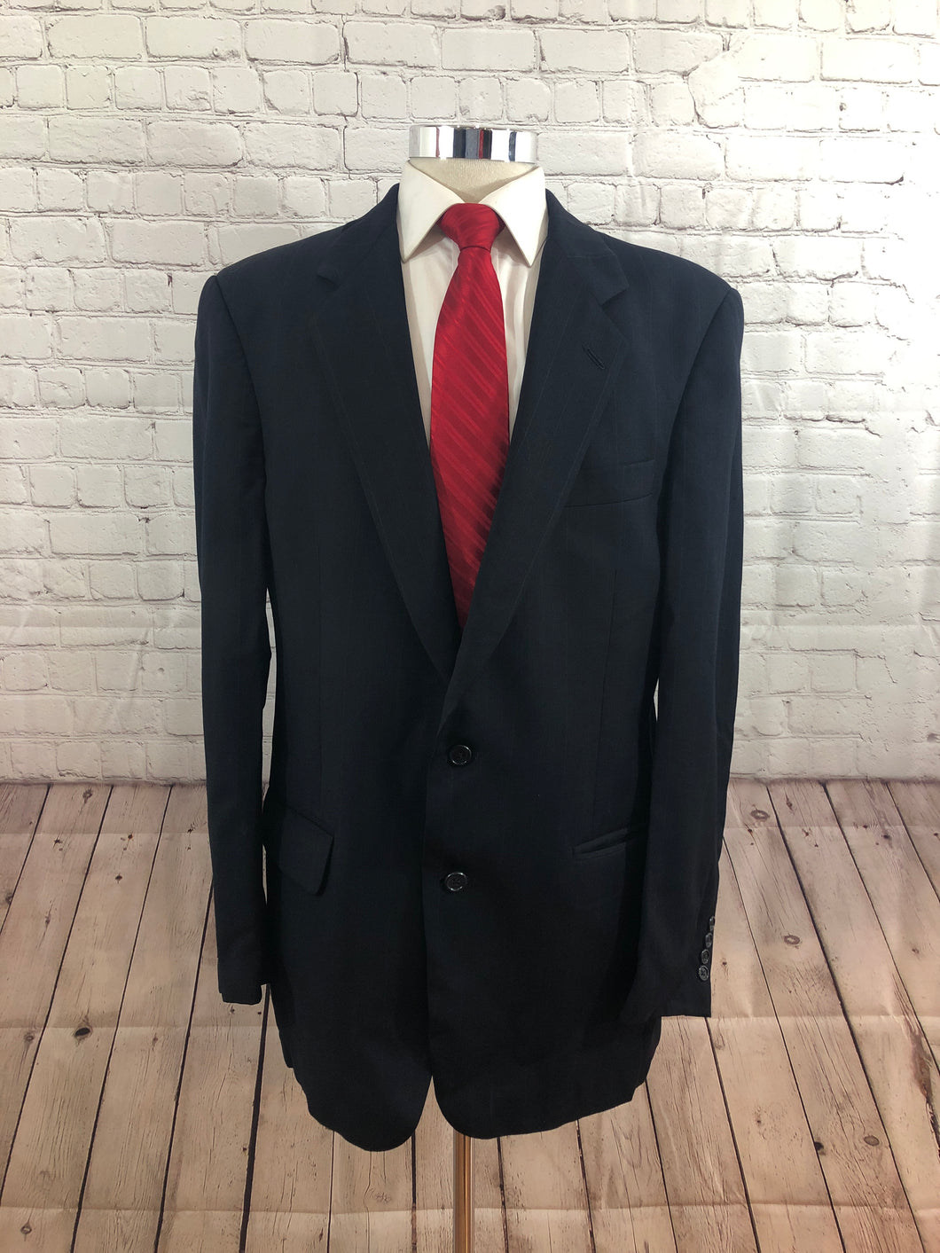 Burberry Men's Navy Blue Stripe Wool Two Button Suit 42R 34X31 - SUIT CHARITY OUTLET