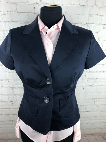 Ann Taylor Loft Navy Blue Solid Cotton Blend Woman's Blazer $225 - SUIT CHARITY OUTLET