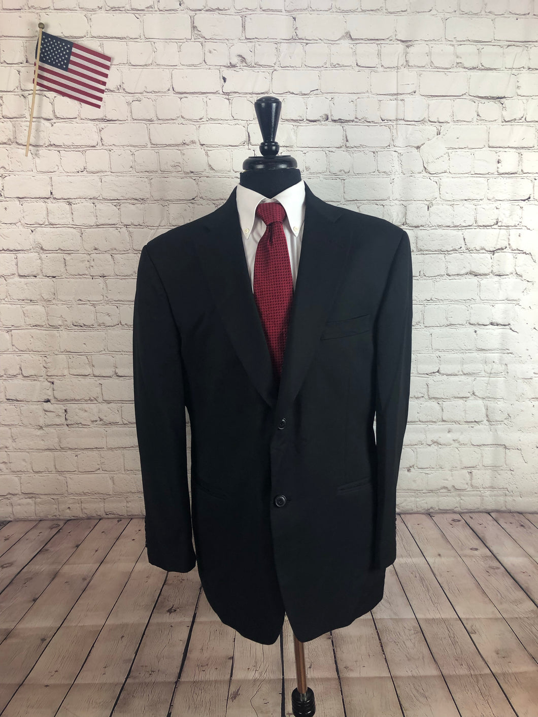 Stafford Men's Black 2 Button Blazer Sport Coat Suit Jacket Size 44R $195