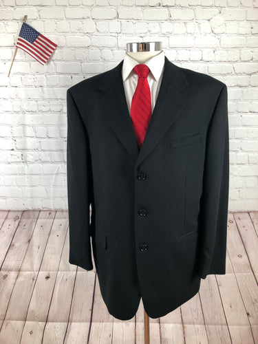 Jones New York Men's Black Solid Three Button Wool Suit 44R Pants 33X29 - SUIT CHARITY OUTLET