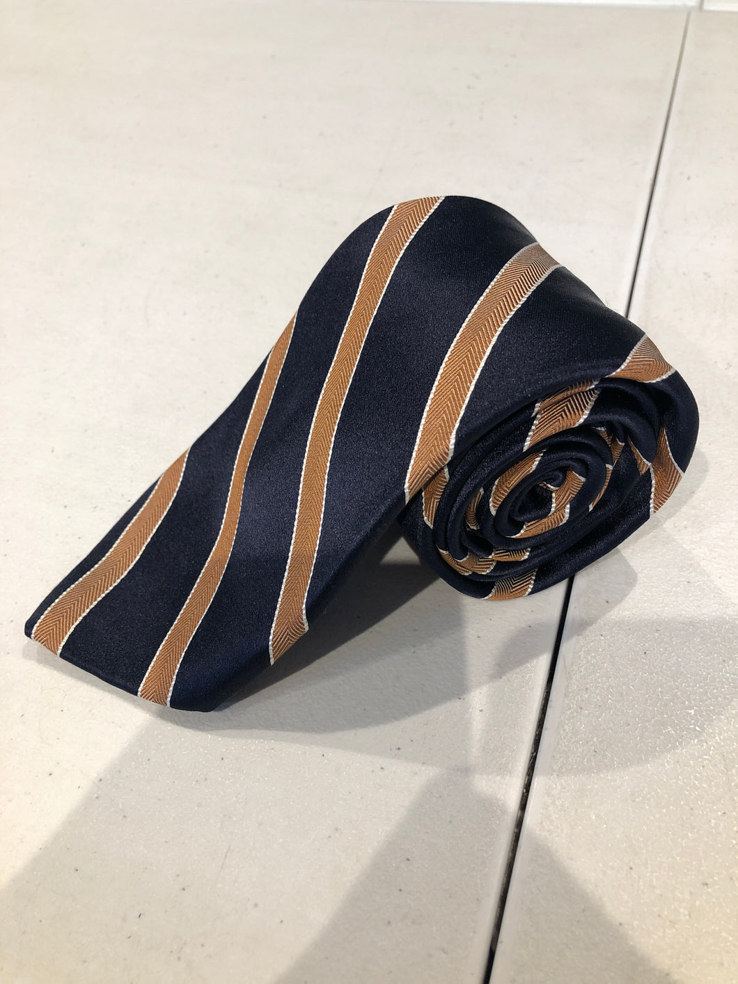 NEW NWOT David Fin Men's Navy Blue Bronze Stripe Silk Neck Tie - SUIT CHARITY OUTLET